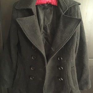 Women's double breasted pea coat black